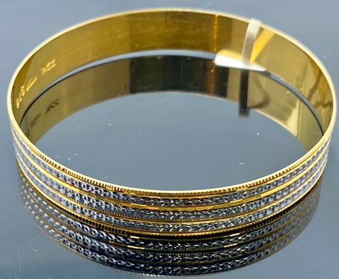 22k Bangle Solid Gold Elegant Ladies Two Tone Multi Rings Pattern Design B412