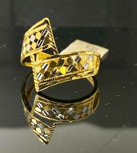 22k Ring Solid Gold Ladies Jewelry Simple Geometric Two Tone Design R2067