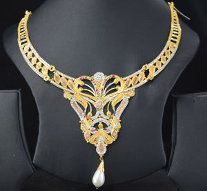 22k Necklace Set Beautiful Solid Gold Ladies Traditional Enamel Design LS1041