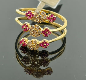 22k Ring Solid Gold Ladies Jewelry Simple Spring Design With Stones R2114z