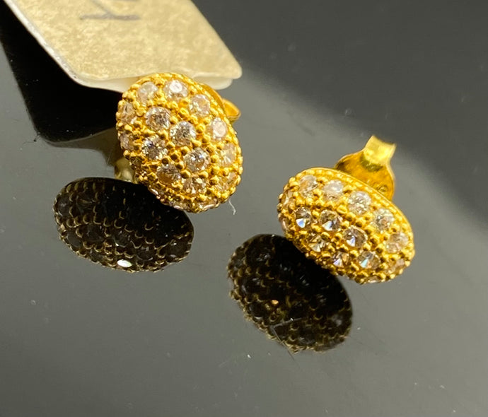 22k Earring Solid Gold Ladies Oval Shaped Stud with Signity Stones E6792 - Royal Dubai Jewellers