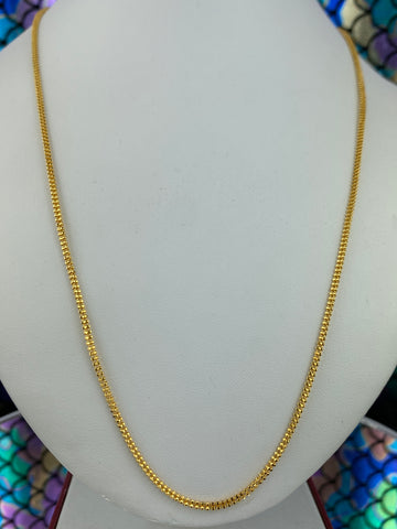 22k Chain Solid Gold Ladies Jewelry Simple Square Shape Popcorn Design C0235 - Royal Dubai Jewellers