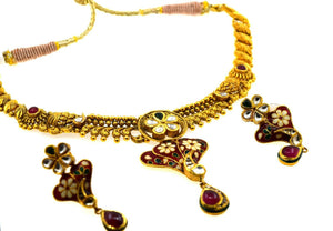 22k Necklace Set Beautiful Solid Gold Ladies Navratan With Enamel CS264