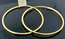 22k Earring Solid Gold ELEGANT Simple High Polished Hoops Earrings Design E6209 - Royal Dubai Jewellers