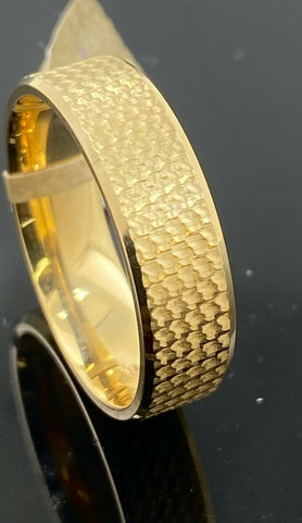 18k Ring Solid Gold Men Jewelry Modern Rough Finish Design R2366