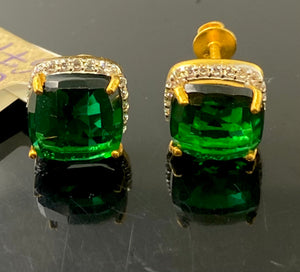 22k Earring Solid Gold Ladies Simple Stud Green Stone Design E6711 - Royal Dubai Jewellers