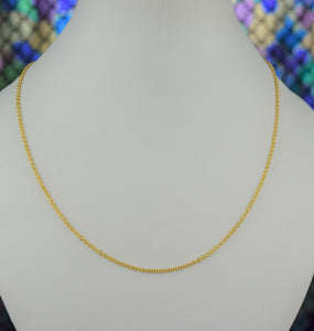 22k Chain Solid Gold Simple Elegant Cable Link Design C3552 - Royal Dubai Jewellers