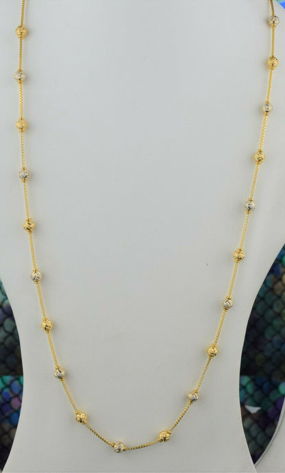 22k Chain Solid Gold Ladies Elegant Two Tone Snake And Beads with Charms C053 - Royal Dubai Jewellers