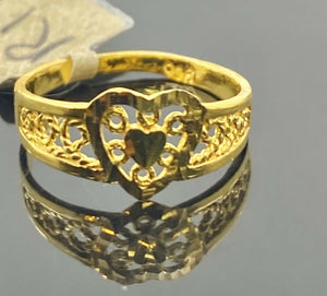 22k Ring Solid Gold Children Jewelry Simple Geometric Heart Design R1928