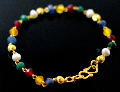 22k 22ct Gold BEADS PEARL RUBY BLUE SAPPHIRE EMERALD BABY KIDS Bracelet CB1142