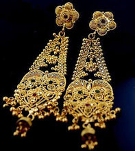22k jewelry Solid Gold LONG Hanging Earrings with Classic Design E1203 - Royal Dubai Jewellers