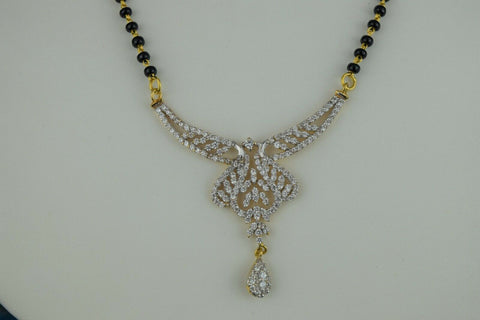 22k Mangalsutra Solid Gold Traditional Ladies Necklace with Floral Pendant C864