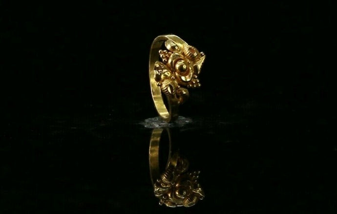 22k Ring Solid Gold ELEGANT Charm Children Simple Ring SIZE 2.5