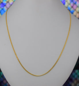 22k Chain Solid Gold Simple Elegant Thin Curb Link design C3482