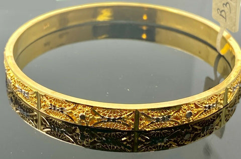 22k Bangle Solid Gold Elegant Ladies Two Tone Filigree Design B318