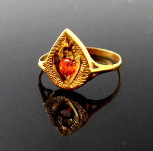 "22k 22ct Solid Gold BEAUTIFUL BABY Ring Orange Stone SIZE 0.9 ""RESIZABLE"" r1226 - Royal Dubai Jewellers"