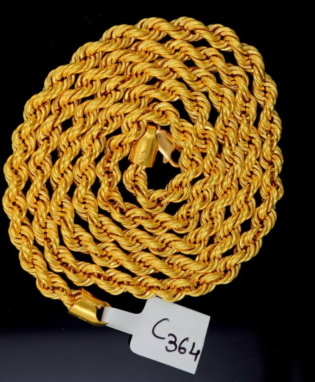 22k Jewelry Yellow Gold Rope Chain Solid Rope Necklace Modern Design 24