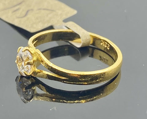 22k Ring Solid Gold Children Jewelry Simple Solitaire Design R2193z