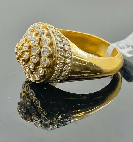 22k Ring Solid Gold ELEGANT Unique Stone Encrusted Men Band r2187 - Royal Dubai Jewellers