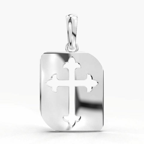 18k Solid White Gold Unisex Jewelry Elegant Cross Pendant CGP32W