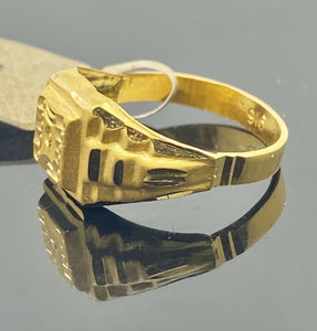 22k Ring Solid Gold Children Jewelry Simple Geometric Design R2191 - Royal Dubai Jewellers