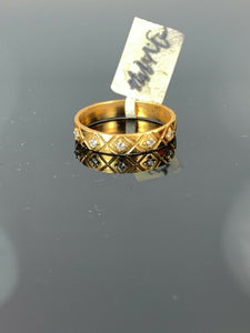 "22k Ring Solid Gold ELEGANT Charm Ladies Band SIZE 7.75 ""RESIZABLE"" r2568mon"