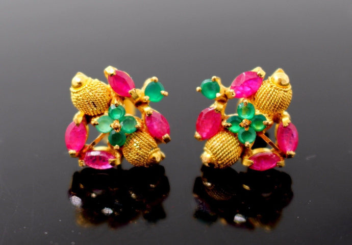 22k 22ct Solid Gold ELEGANT Charm Earring Classic Floral Stone Design e5184
