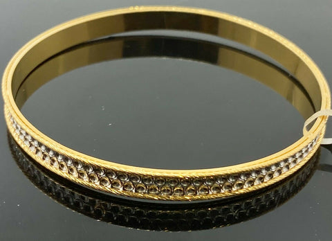 22k Bangle Solid Gold Simple Ladies Two Tone Infinity Circle Design B419