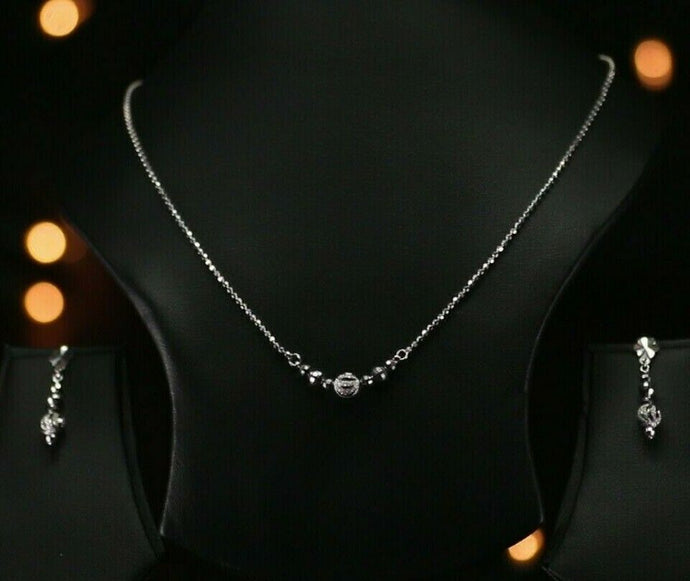 18k Beautiful Solid Gold Modern Bead Filigree Necklace Set For Ladies LS289