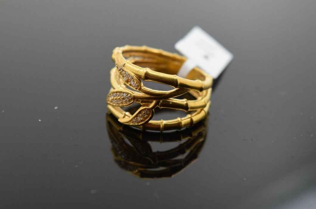 22k Ring Solid Gold ELEGANT Charm Ladies Floral Band SIZE 7.5