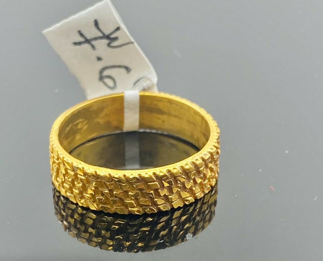 22k Ring Solid Gold Elegant Charm Diamond Cut Ladies Ring Size R2063 mon