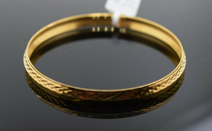 22k Solid Gold ELEGANT BABY CHILDREN BANGLE Diamond Cut Kara cb1389