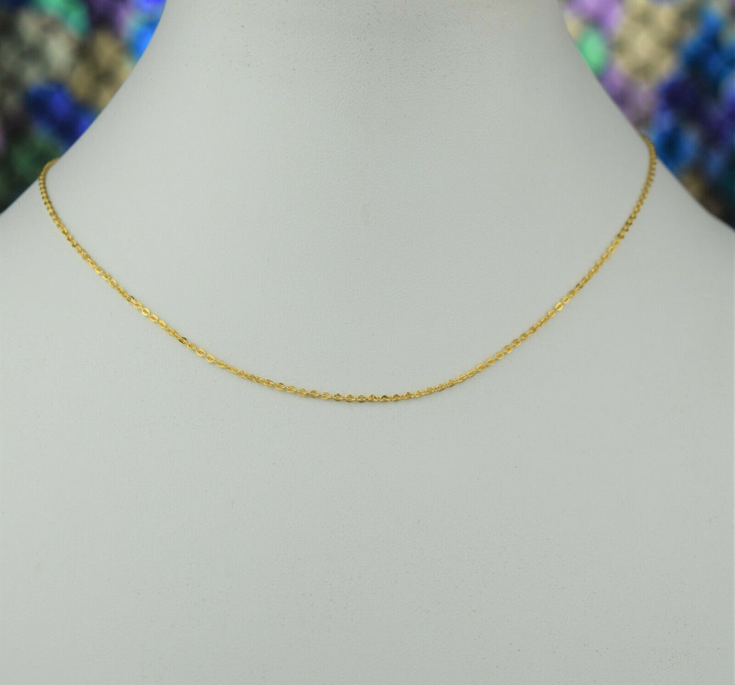 22k Chain Solid Gold Simple Elegant Tiny Cable Link Design C3483
