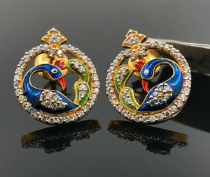 22k Earring Solid Gold Ladies Jewelry Classic Round Peacock Design E8301