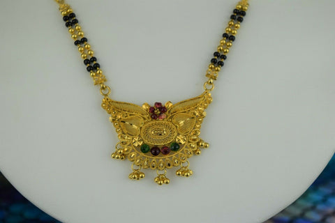 22k Mangalsutra Solid Gold Traditional Ladies Necklace with Enamel Design C561