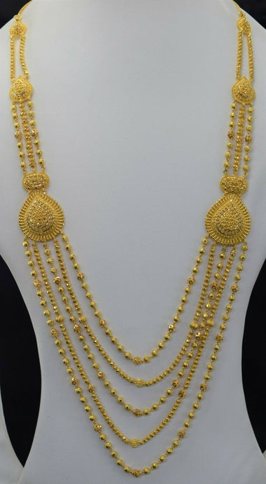 22k Bridal Set Beautiful Solid Gold Ladies Traditional Long Set Design LS1026