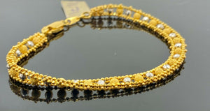 22k Bracelet Solid Gold Ladies Jewelry Two Tone Infinity Beads Design BR1081 - Royal Dubai Jewellers