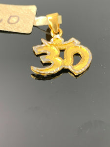 22k Pendant Solid Gold Elegant Simple Religious Hindu OM Cut Out Design P524 - Royal Dubai Jewellers