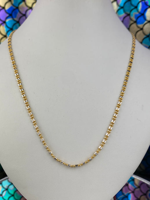 22k Chain Solid Gold Ladies Jewelry Two Tone Snake and Beads Design C0211 - Royal Dubai Jewellers