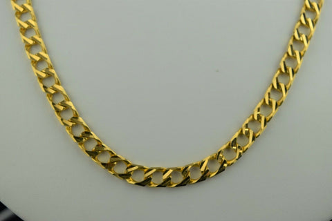 22k Chain Solid Gold Elegant Simple Glossy Curb Link Design C0137 - Royal Dubai Jewellers