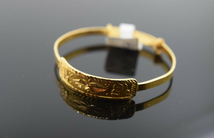 22k Solid Gold ELEGANT BABY CHILDREN BANGLE Classic Sikh Religious Design b300