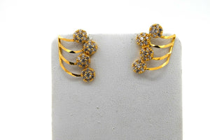 22k Earrings Solid Gold Ladies Jewelry Simple Wrap Around Loop Design E5998 - Royal Dubai Jewellers