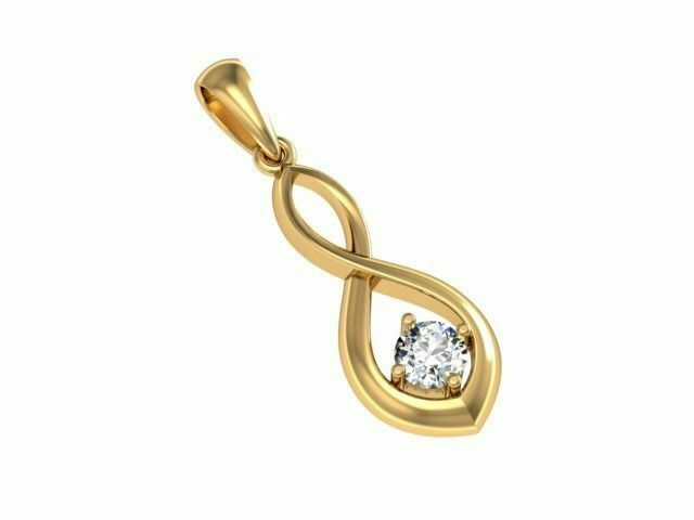 22k Pendant Solid Yellow Gold Ladies Jewelry Elegant Plain Twisted Design CGP10