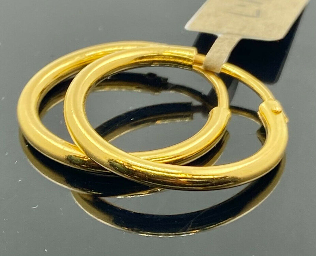 22k Earrings Solid Gold Men Jewelry Simple Plain Glossy Hoop Design E6309 - Royal Dubai Jewellers