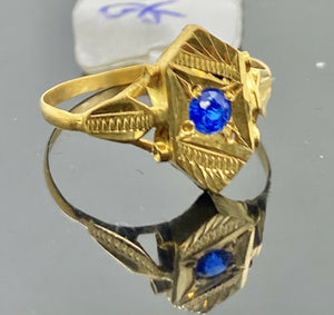 22k Ring Solid Gold Children Jewelry Classic Geometric Design R1228