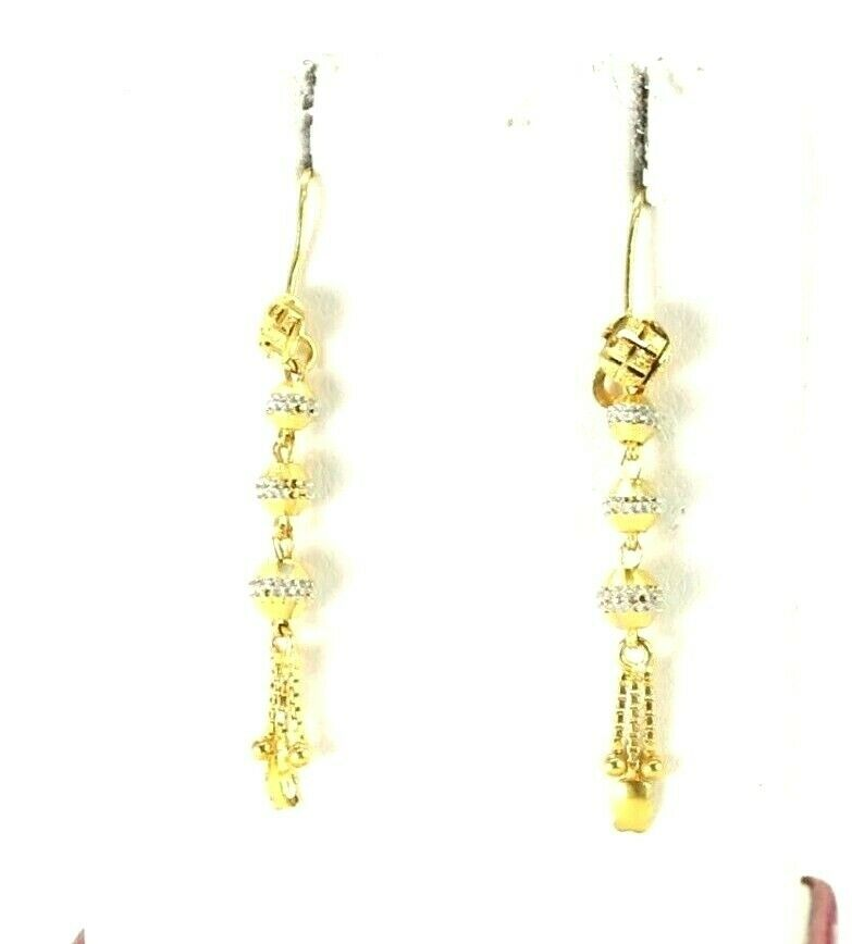22k Earrings Solid Gold ELEGANT Simple Diamond Cut Ball And Beads Design e3870