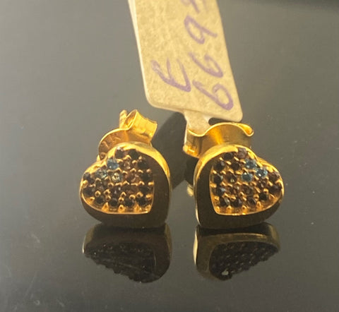 22k Earring Solid Gold Ladies Simple Stud Heart Design E6693 - Royal Dubai Jewellers
