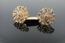 22k Earrings Solid Gold Ladies Jewelry Stone Encrusted Floral Design E5994 - Royal Dubai Jewellers
