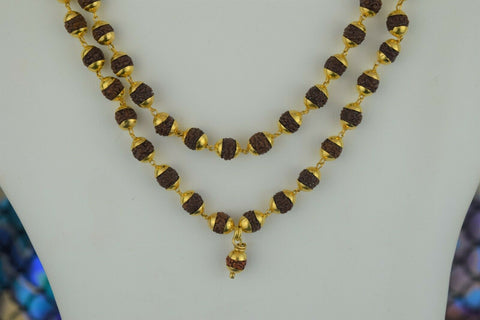 22k Necklace Solid Gold Ladies Mala Beads Infinity Design C091
