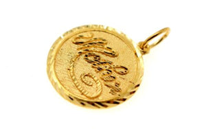 22k Pendant Solid Gold Charm Mom Pendant Round Design p1228 ns